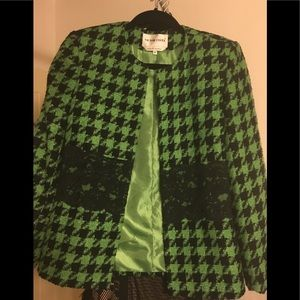 VICTOR COSTA Green and Black Lace Jacket